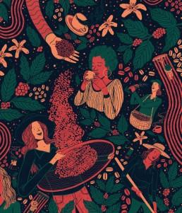virginia women`s coffee illustration